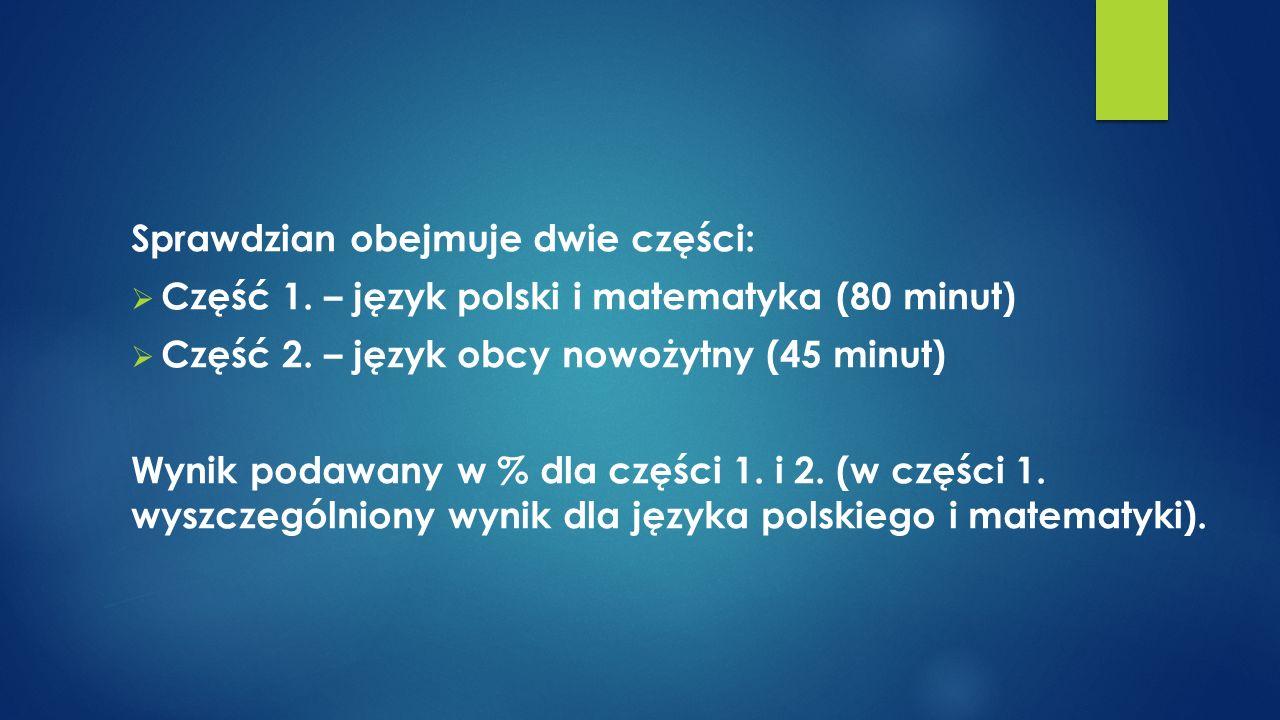 Sprawdzian obejmuje dwie części:  Część 1.– język polski i matematyka (80 minut)  Część 2.