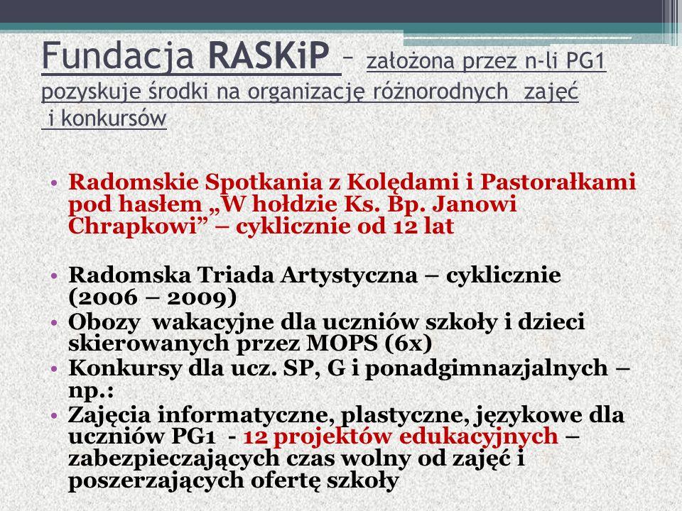 Fundacja RASKiP – założona przez n-li PG1 pozyskuje środki na organizację różnorodnych zajęć i konkursów Radomskie Spotkania z Kolędami i Pastorałkami