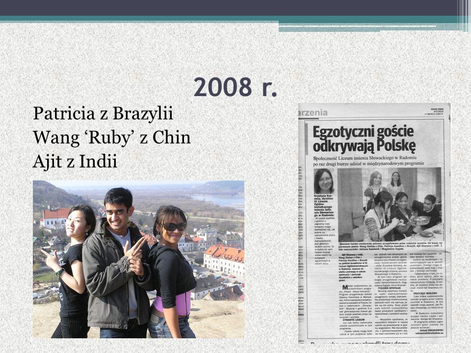 2008 r. Patricia z Brazylii Wang 'Ruby' z Chin Ajit z Indii