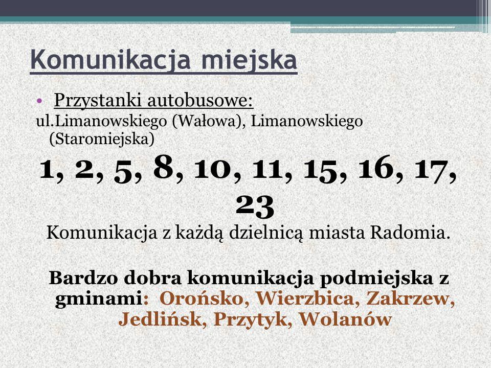 Komunikacja miejska Przystanki autobusowe: ul.Limanowskiego (Wałowa), Limanowskiego (Staromiejska) 1, 2, 5, 8, 10, 11, 15, 16, 17, 23 Komunikacja z każdą dzielnicą miasta Radomia.