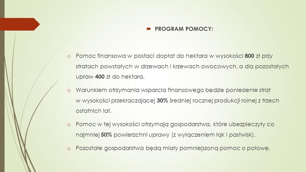  PROGRAM POMOCY: o Pomoc finansowa w postaci dopłat do hektara w wysokości 800 zł przy stratach powstałych w drzewach i krzewach owocowych, a dla pozostałych upraw 400 zł do hektara.