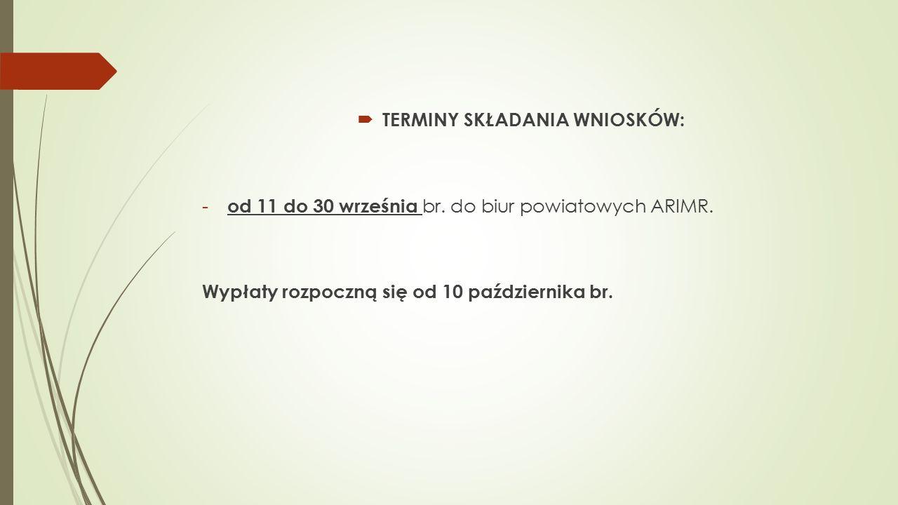  TERMINY SKŁADANIA WNIOSKÓW: - od 11 do 30 września br.