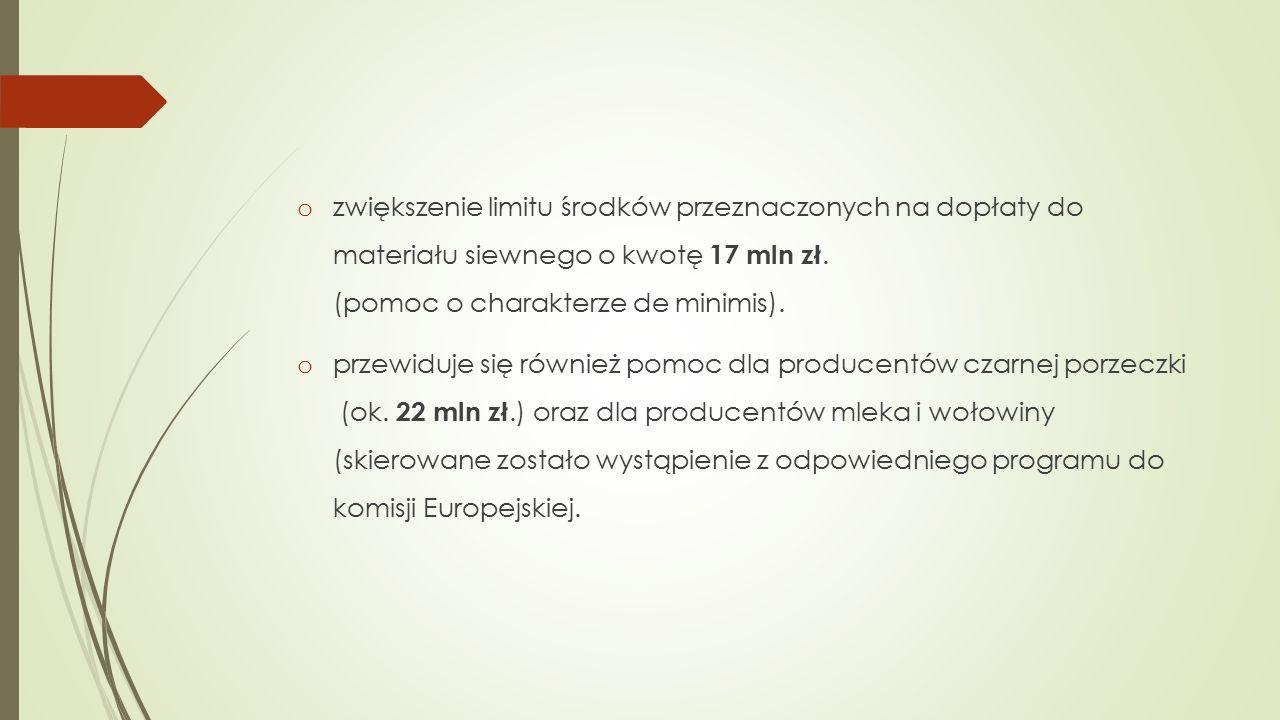 o zwiększenie limitu środków przeznaczonych na dopłaty do materiału siewnego o kwotę 17 mln zł.