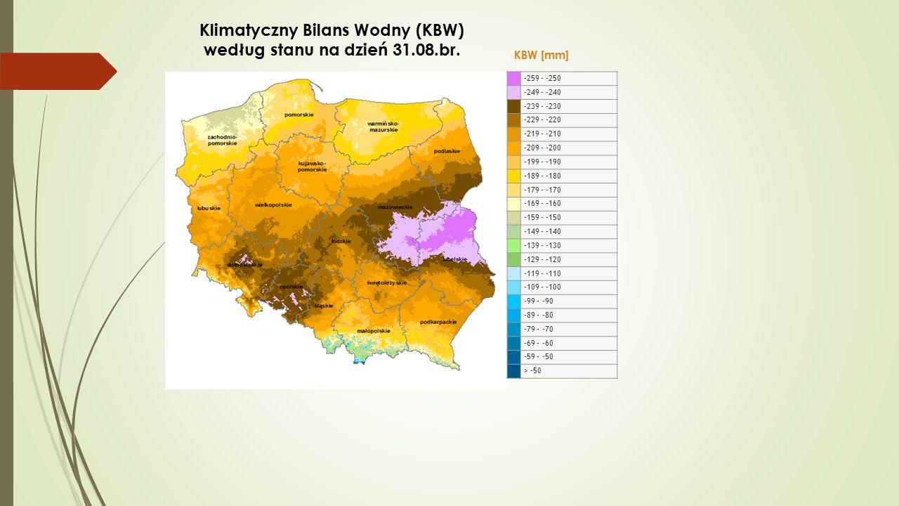 Klimatyczny Bilans Wodny (KBW) według stanu na dzień 31.08.br.