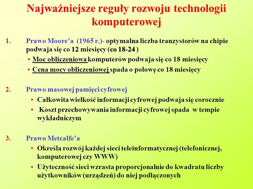 Najważniejsze reguły rozwoju technologii komputerowej 12co 18-24 1.Prawo Moore'a (1965 r.)- optymalna liczba tranzystorów na chipie podwaja się co 12 miesięcy (co 18-24 ) Moc obliczeniowa komputerów podwaja się co 18 miesięcy Cena mocy obliczeniowej spada o połowę co 18 miesięcy 2.Prawo masowej pamięci cyfrowej Całkowita wielkość informacji cyfrowej podwaja się corocznie Koszt przechowywania informacji cyfrowej spada w tempie wykładniczym 3.Prawo Metcalfe'a Określa rozwój każdej sieci teleinformatycznej (telefonicznej, komputerowej czy WWW) Użyteczność sieci wzrasta proporcjonalnie do kwadratu liczby użytkowników (urządzeń) do niej podłączonych