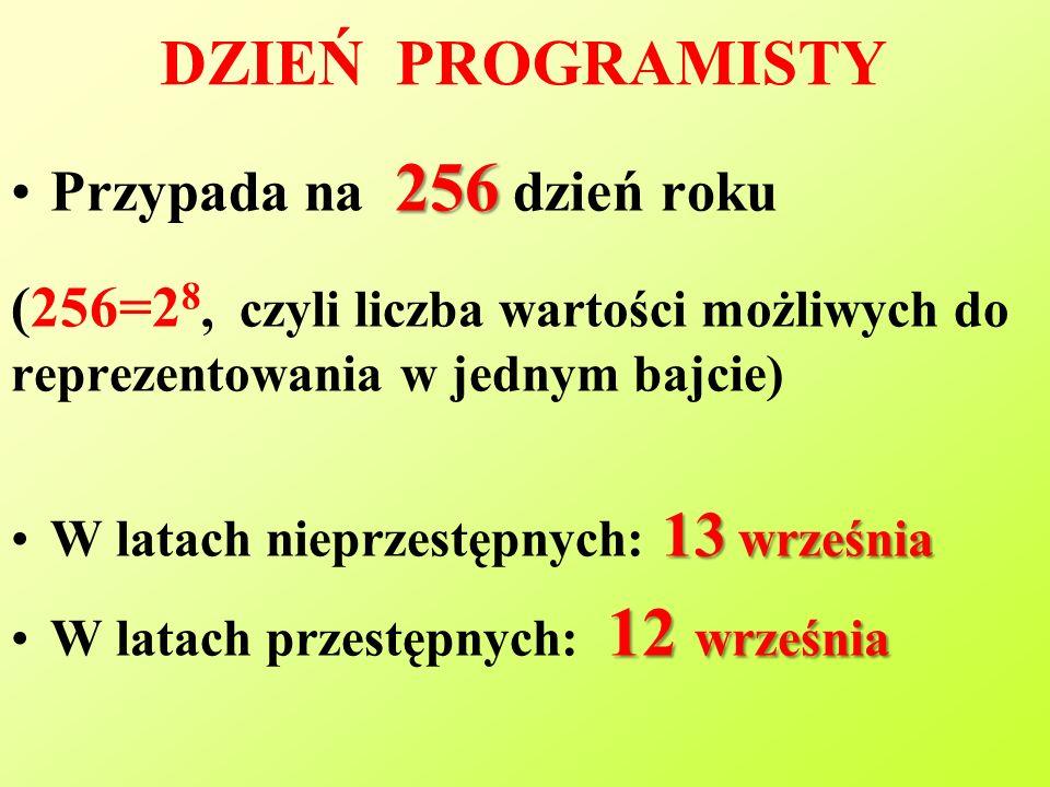 DZIEŃ PROGRAMISTY 256Przypada na 256 dzień roku (256=2 8, czyli liczba wartości możliwych do reprezentowania w jednym bajcie) 13 wrześniaW latach nieprzestępnych: 13 września 12 wrześniaW latach przestępnych: 12 września