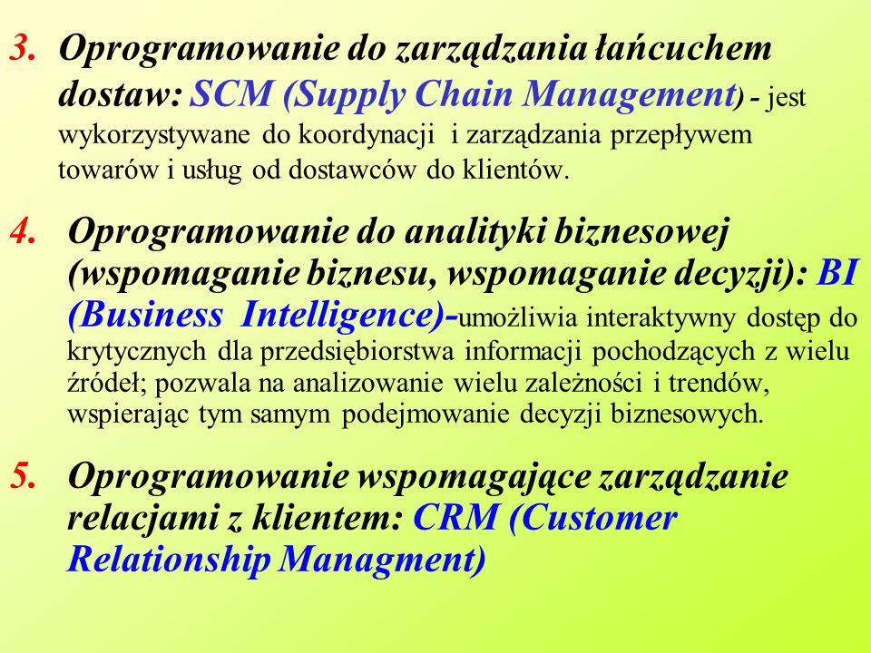 3.Oprogramowanie do zarządzania łańcuchem dostaw: SCM (Supply Chain Management ) - jest wykorzystywane do koordynacji i zarządzania przepływem towarów i usług od dostawców do klientów.