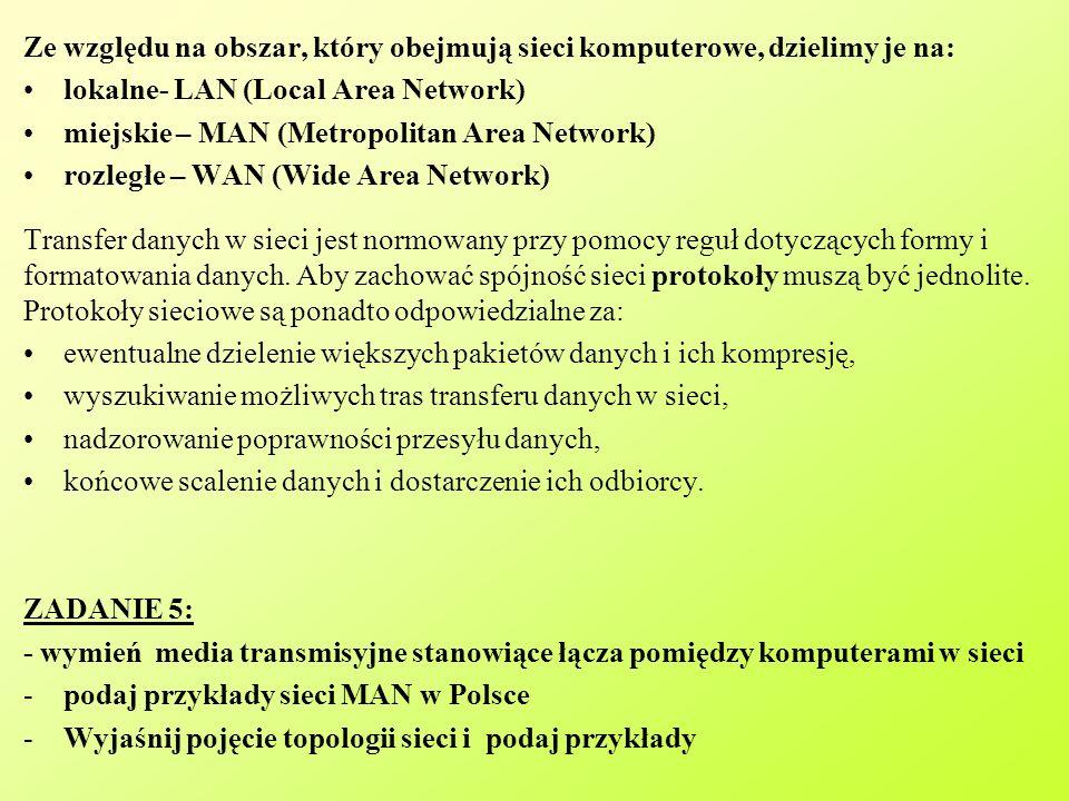 Ze względu na obszar, który obejmują sieci komputerowe, dzielimy je na: lokalne- LAN (Local Area Network) miejskie – MAN (Metropolitan Area Network) rozległe – WAN (Wide Area Network) Transfer danych w sieci jest normowany przy pomocy reguł dotyczących formy i formatowania danych.