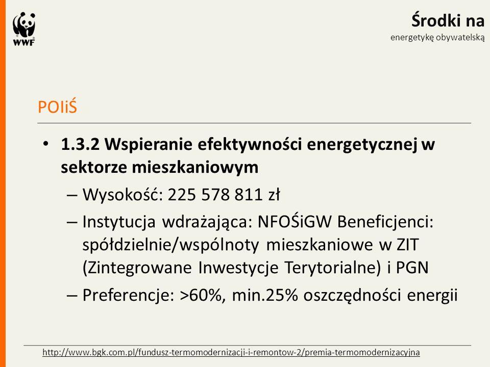 POIiŚ Środki na energetykę obywatelską 1.3.2 Wspieranie efektywności energetycznej w sektorze mieszkaniowym – Wysokość: 225 578 811 zł – Instytucja wd