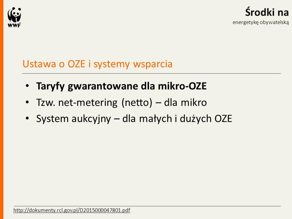 Ustawa o OZE i systemy wsparcia Środki na energetykę obywatelską Taryfy gwarantowane dla mikro-OZE Tzw. net-metering (netto) – dla mikro System aukcyj