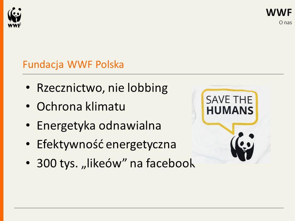 """Fundacja WWF Polska WWF O nas Rzecznictwo, nie lobbing Ochrona klimatu Energetyka odnawialna Efektywność energetyczna 300 tys. """"likeów"""" na facebook"""