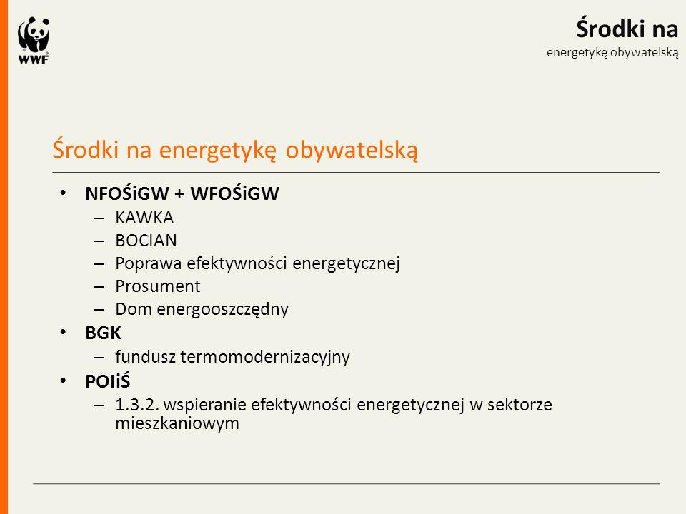 Środki na energetykę obywatelską Środki na energetykę obywatelską NFOŚiGW + WFOŚiGW – KAWKA – BOCIAN – Poprawa efektywności energetycznej – Prosument