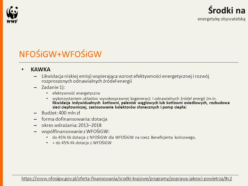 NFOŚiGW+WFOŚiGW Środki na energetykę obywatelską KAWKA – WFOŚiGW Kraków – Budżet: 125,5 mln PLN – Okres realizacji: 2015-2018 – do 90 % kosztów kwalifikowanych – Beneficjenci: JST, spółki komunalne – Miejscowości>5000 mieszkańców (nd.