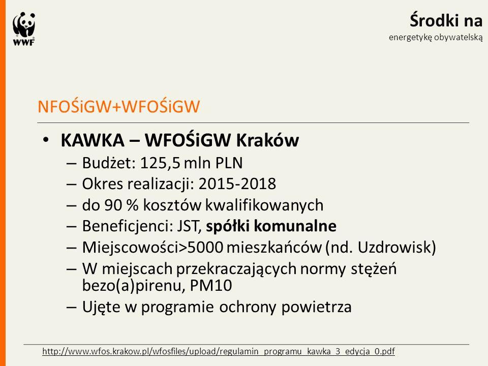 NFOŚiGW+WFOŚiGW Środki na energetykę obywatelską KAWKA – WFOŚiGW Kraków – Budżet: 125,5 mln PLN – Okres realizacji: 2015-2018 – do 90 % kosztów kwalif