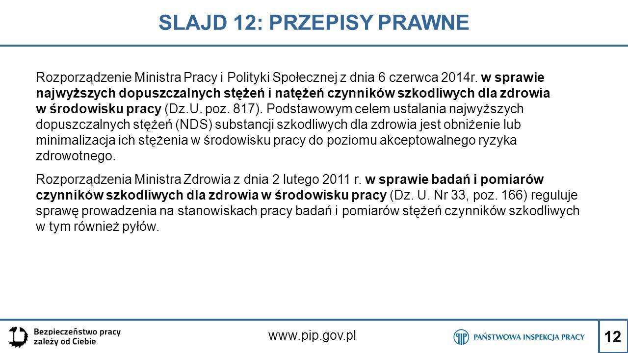 12 SLAJD 12: PRZEPISY PRAWNE www.pip.gov.pl Rozporządzenie Ministra Pracy i Polityki Społecznej z dnia 6 czerwca 2014r. w sprawie najwyższych dopuszcz
