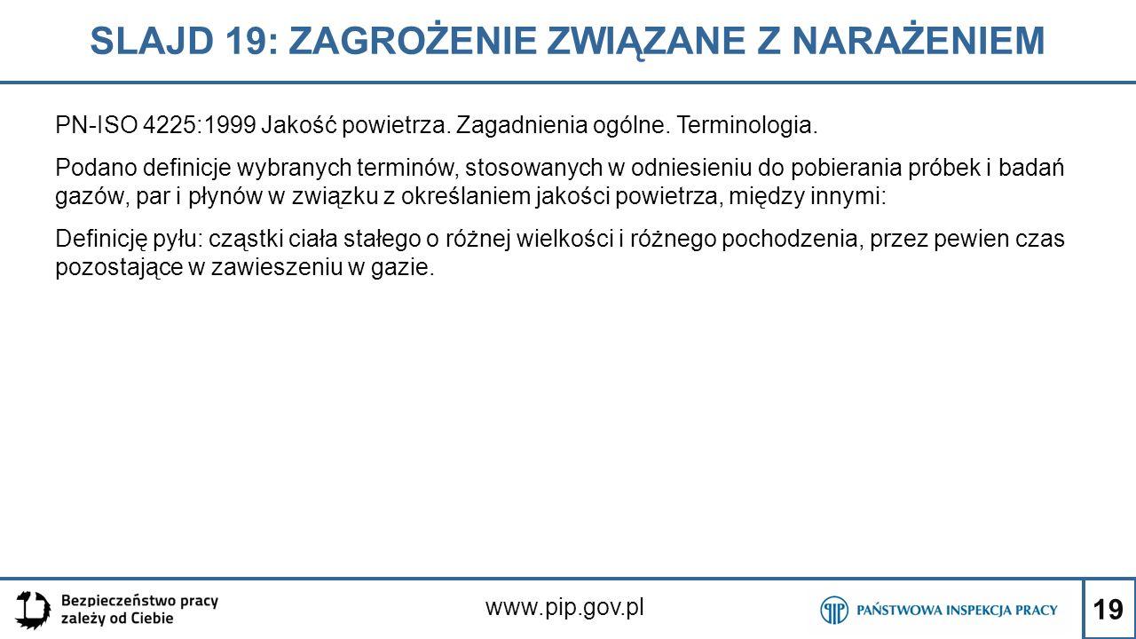 19 SLAJD 19: ZAGROŻENIE ZWIĄZANE Z NARAŻENIEM www.pip.gov.pl PN-ISO 4225:1999 Jakość powietrza. Zagadnienia ogólne. Terminologia. Podano definicje wyb