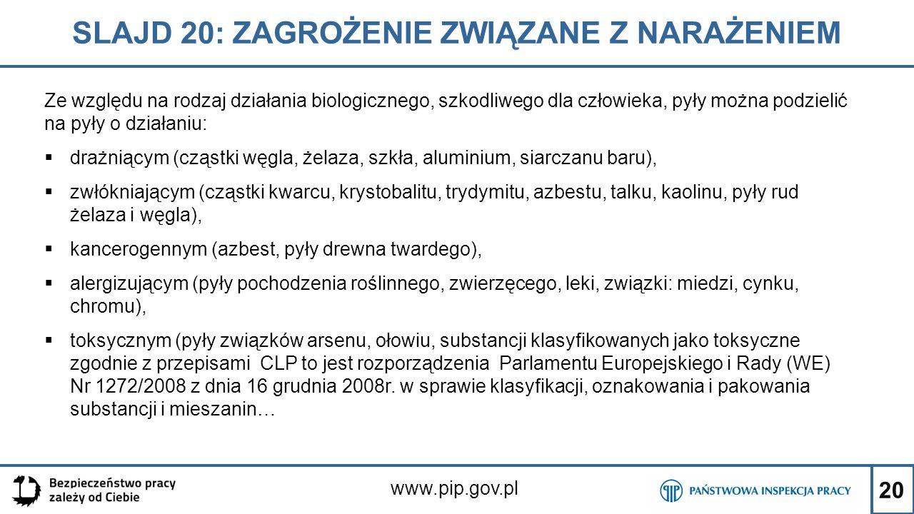 20 SLAJD 20: ZAGROŻENIE ZWIĄZANE Z NARAŻENIEM www.pip.gov.pl Ze względu na rodzaj działania biologicznego, szkodliwego dla człowieka, pyły można podzi