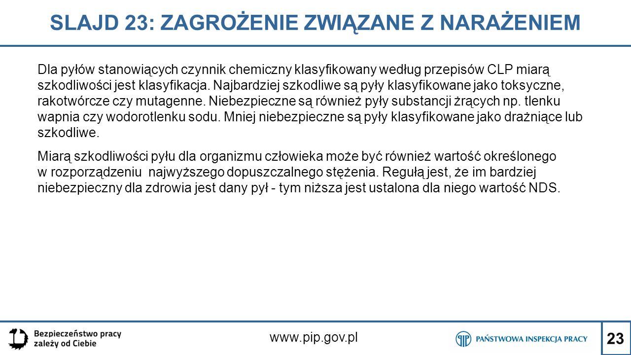 23 SLAJD 23: ZAGROŻENIE ZWIĄZANE Z NARAŻENIEM www.pip.gov.pl Dla pyłów stanowiących czynnik chemiczny klasyfikowany według przepisów CLP miarą szkodli