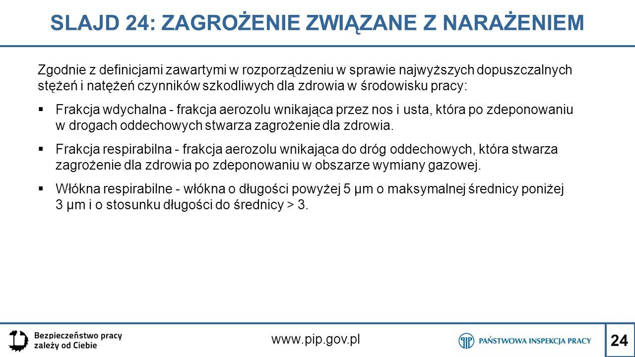 24 SLAJD 24: ZAGROŻENIE ZWIĄZANE Z NARAŻENIEM www.pip.gov.pl Zgodnie z definicjami zawartymi w rozporządzeniu w sprawie najwyższych dopuszczalnych stę