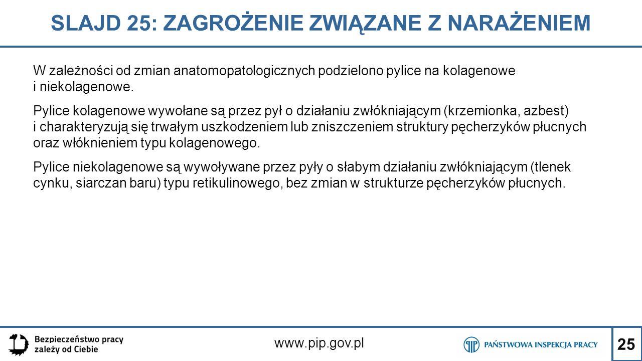 25 SLAJD 25: ZAGROŻENIE ZWIĄZANE Z NARAŻENIEM www.pip.gov.pl W zależności od zmian anatomopatologicznych podzielono pylice na kolagenowe i niekolageno