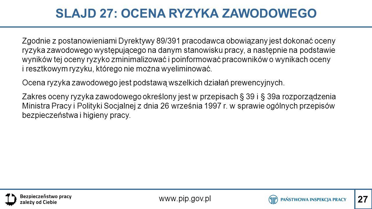 27 SLAJD 27: OCENA RYZYKA ZAWODOWEGO www.pip.gov.pl Zgodnie z postanowieniami Dyrektywy 89/391 pracodawca obowiązany jest dokonać oceny ryzyka zawodow