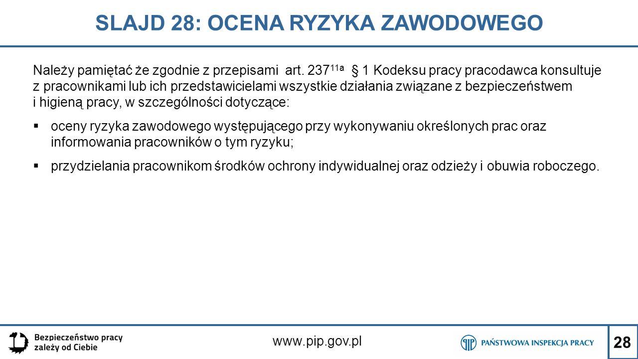 28 SLAJD 28: OCENA RYZYKA ZAWODOWEGO www.pip.gov.pl Należy pamiętać że zgodnie z przepisami art. 237 11a § 1 Kodeksu pracy pracodawca konsultuje z pra