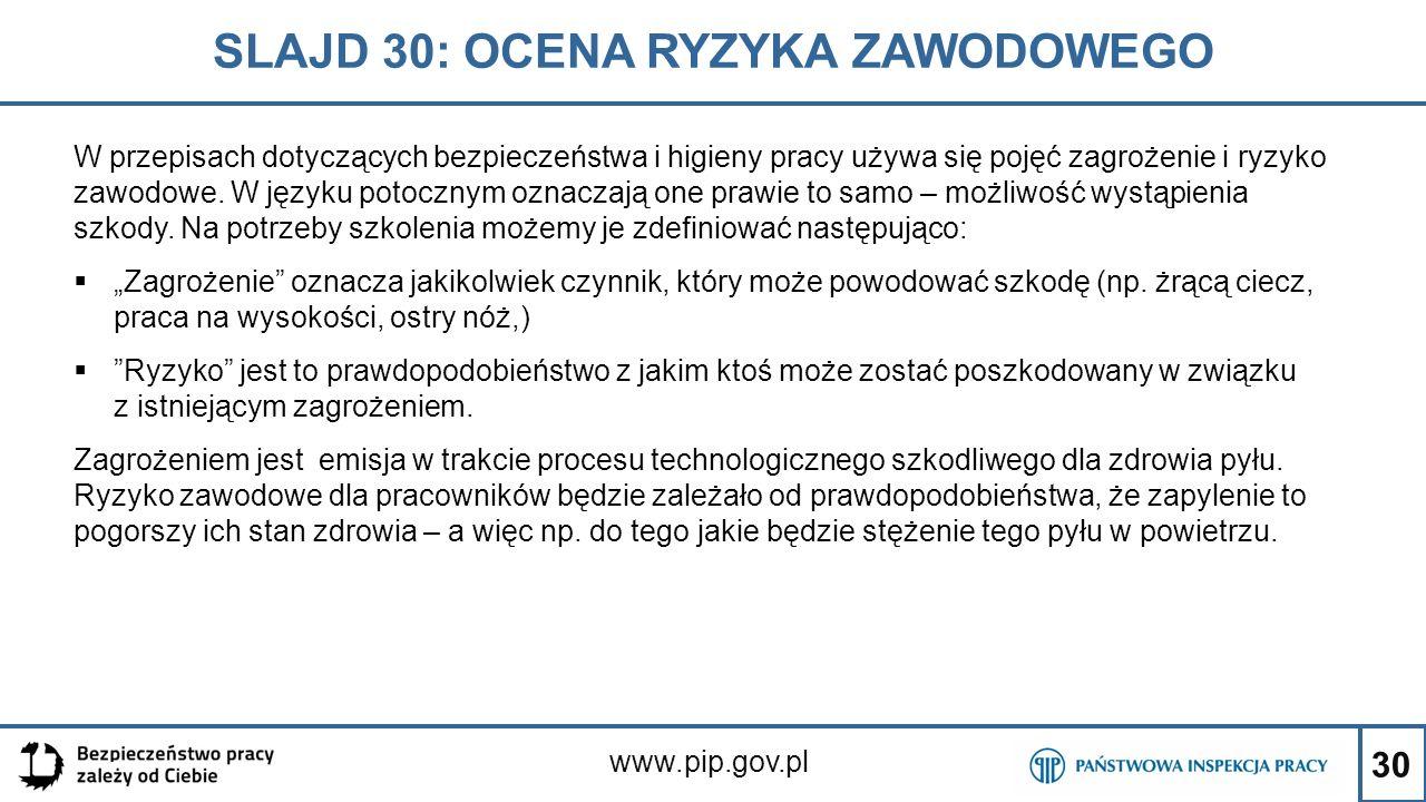 30 SLAJD 30: OCENA RYZYKA ZAWODOWEGO www.pip.gov.pl W przepisach dotyczących bezpieczeństwa i higieny pracy używa się pojęć zagrożenie i ryzyko zawodo