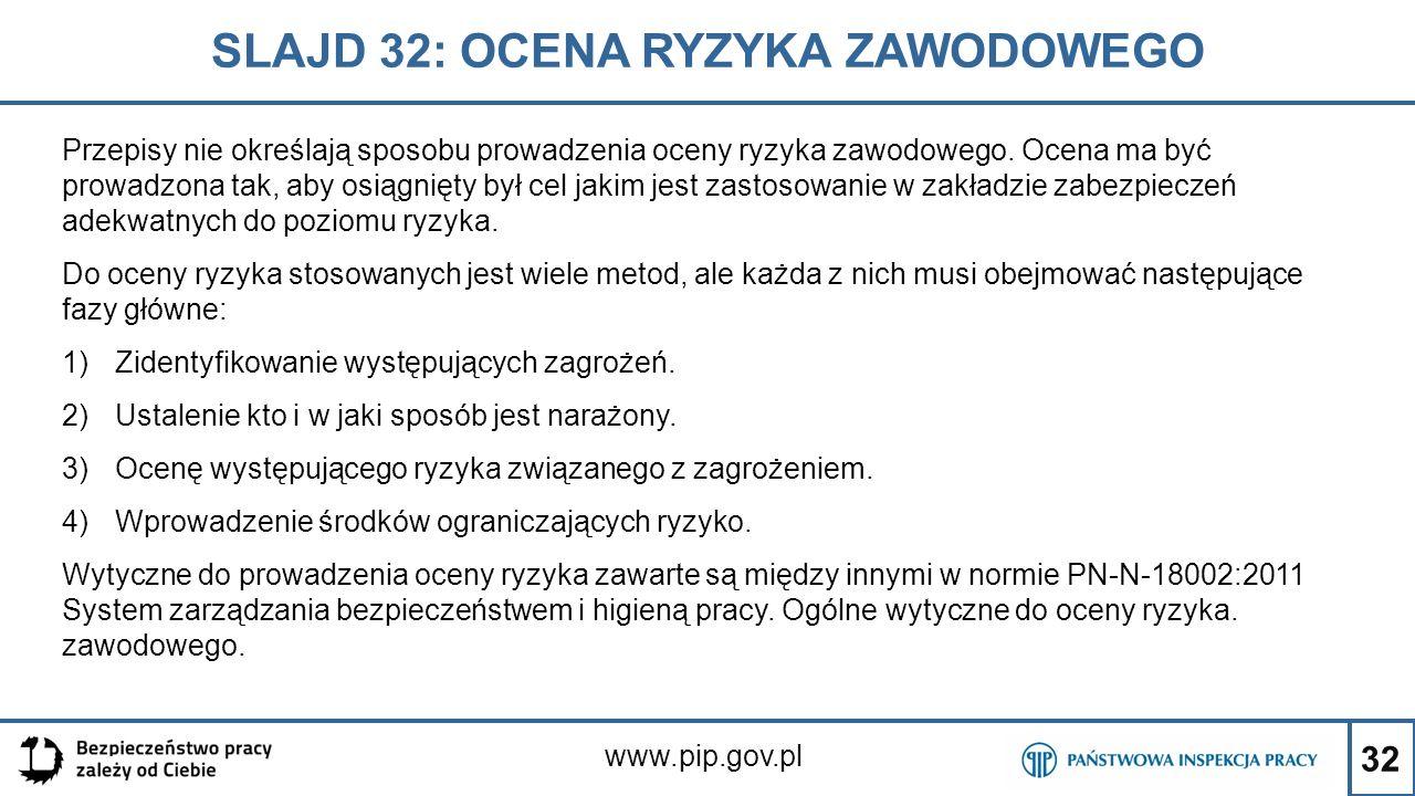 32 SLAJD 32: OCENA RYZYKA ZAWODOWEGO www.pip.gov.pl Przepisy nie określają sposobu prowadzenia oceny ryzyka zawodowego. Ocena ma być prowadzona tak, a