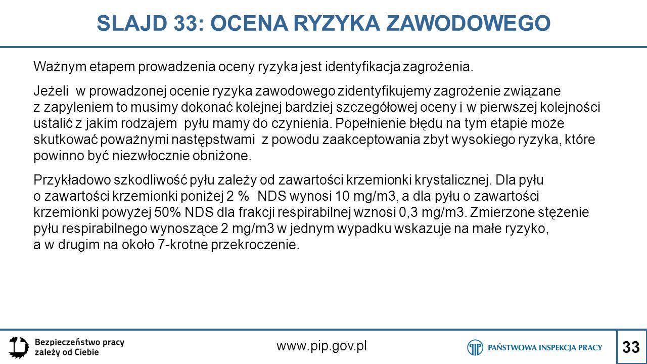 33 SLAJD 33: OCENA RYZYKA ZAWODOWEGO www.pip.gov.pl Ważnym etapem prowadzenia oceny ryzyka jest identyfikacja zagrożenia. Jeżeli w prowadzonej ocenie