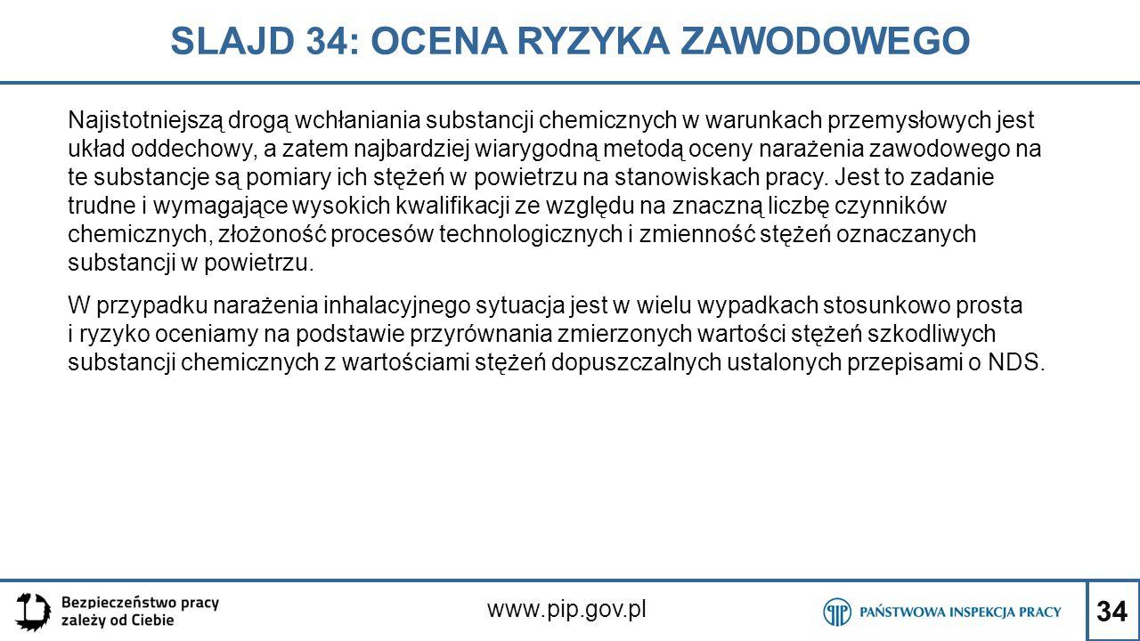 34 SLAJD 34: OCENA RYZYKA ZAWODOWEGO www.pip.gov.pl Najistotniejszą drogą wchłaniania substancji chemicznych w warunkach przemysłowych jest układ odde