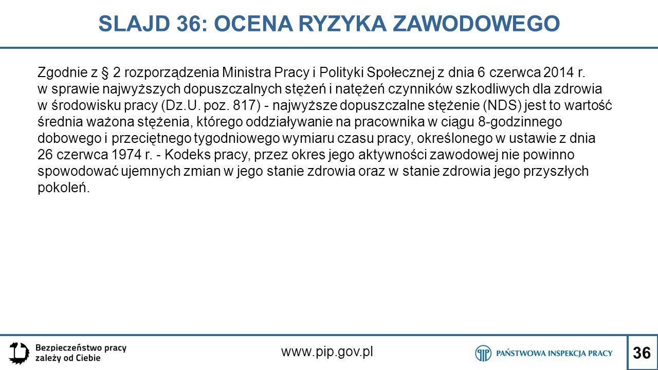 36 SLAJD 36: OCENA RYZYKA ZAWODOWEGO www.pip.gov.pl Zgodnie z § 2 rozporządzenia Ministra Pracy i Polityki Społecznej z dnia 6 czerwca 2014 r. w spraw