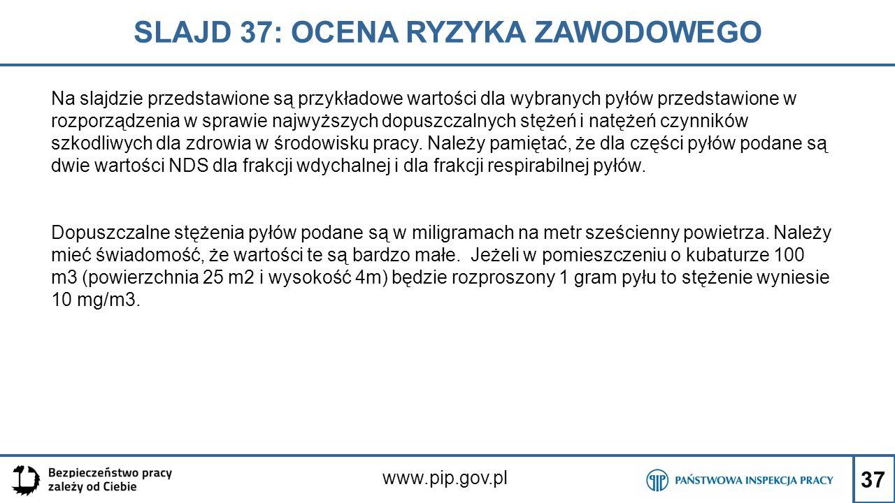 37 SLAJD 37: OCENA RYZYKA ZAWODOWEGO www.pip.gov.pl Na slajdzie przedstawione są przykładowe wartości dla wybranych pyłów przedstawione w rozporządzen