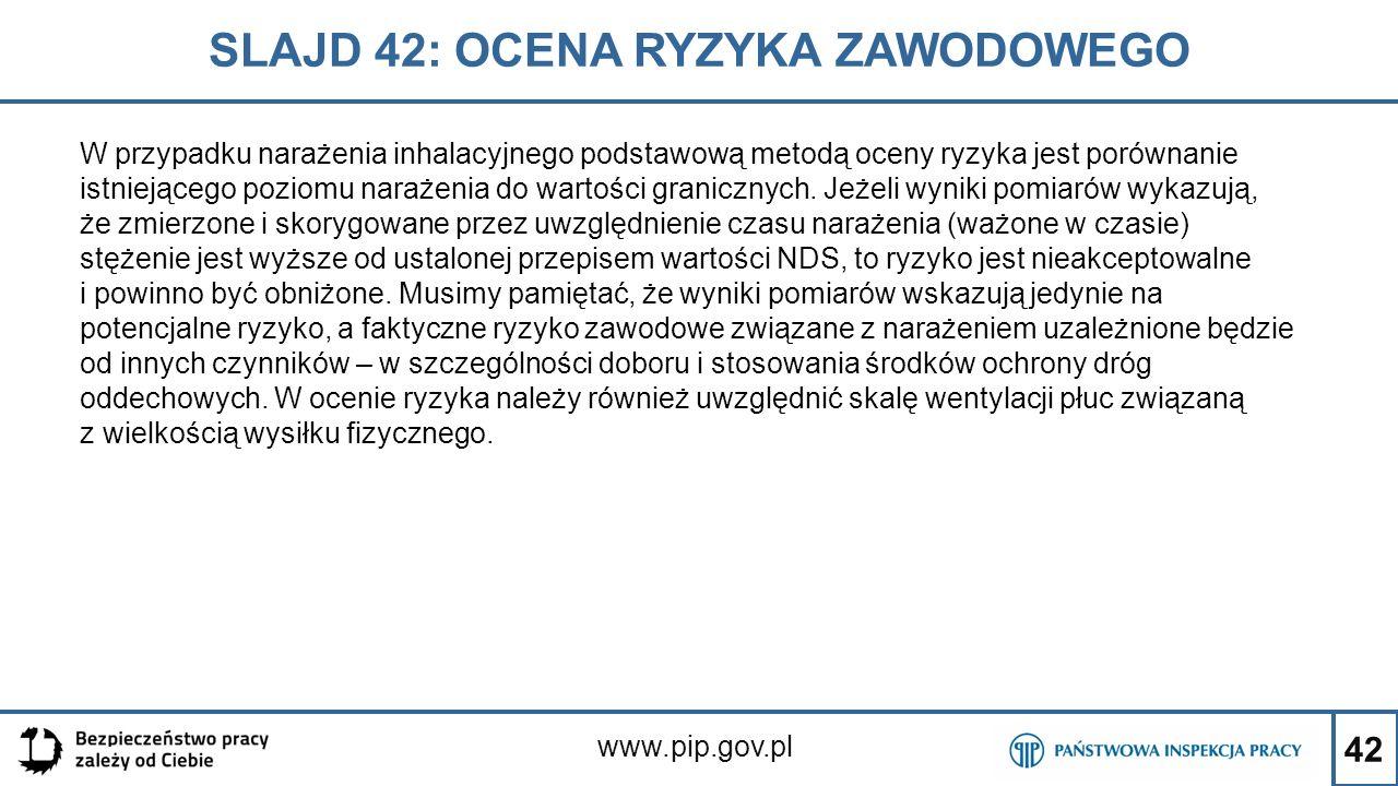42 SLAJD 42: OCENA RYZYKA ZAWODOWEGO www.pip.gov.pl W przypadku narażenia inhalacyjnego podstawową metodą oceny ryzyka jest porównanie istniejącego po