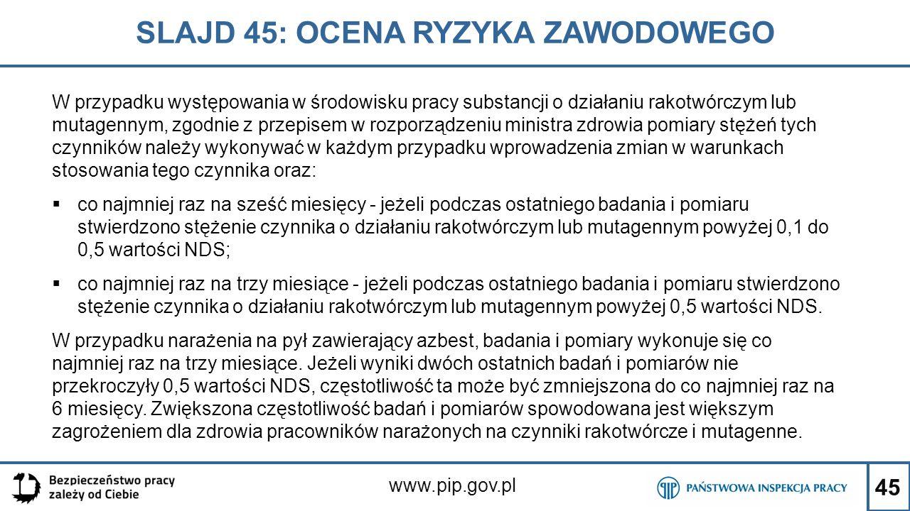 45 SLAJD 45: OCENA RYZYKA ZAWODOWEGO www.pip.gov.pl W przypadku występowania w środowisku pracy substancji o działaniu rakotwórczym lub mutagennym, zg