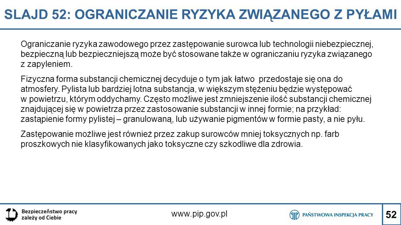 52 SLAJD 52: OGRANICZANIE RYZYKA ZWIĄZANEGO Z PYŁAMI www.pip.gov.pl Ograniczanie ryzyka zawodowego przez zastępowanie surowca lub technologii niebezpi