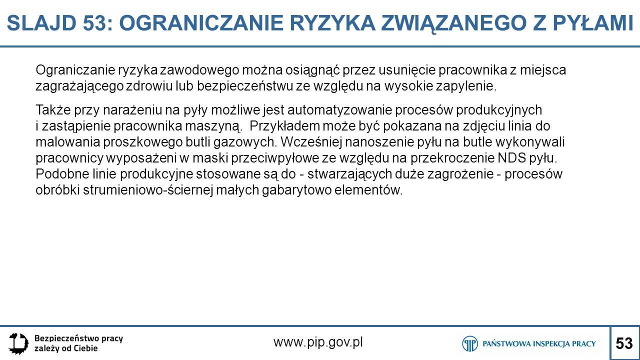 53 SLAJD 53: OGRANICZANIE RYZYKA ZWIĄZANEGO Z PYŁAMI www.pip.gov.pl Ograniczanie ryzyka zawodowego można osiągnąć przez usunięcie pracownika z miejsca