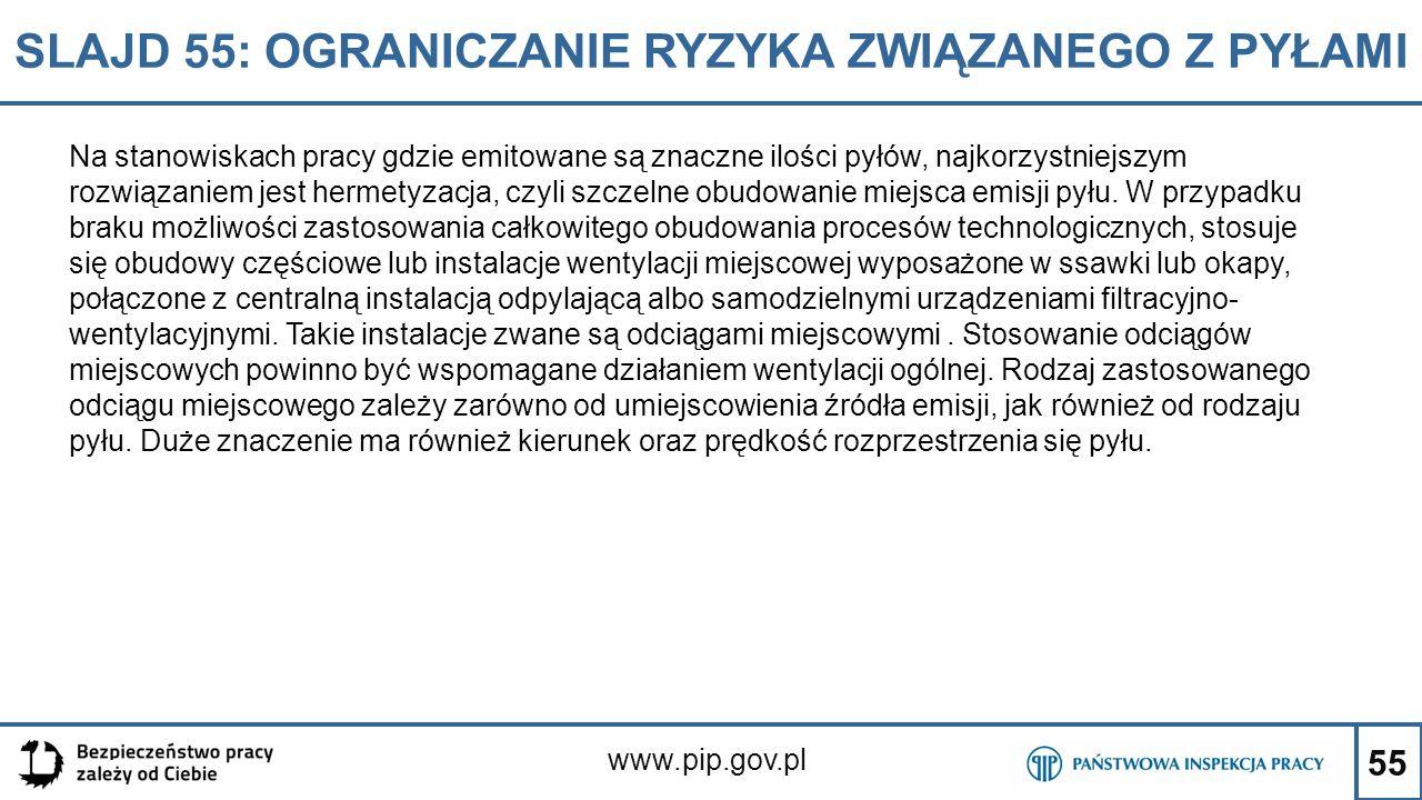 55 SLAJD 55: OGRANICZANIE RYZYKA ZWIĄZANEGO Z PYŁAMI www.pip.gov.pl Na stanowiskach pracy gdzie emitowane są znaczne ilości pyłów, najkorzystniejszym