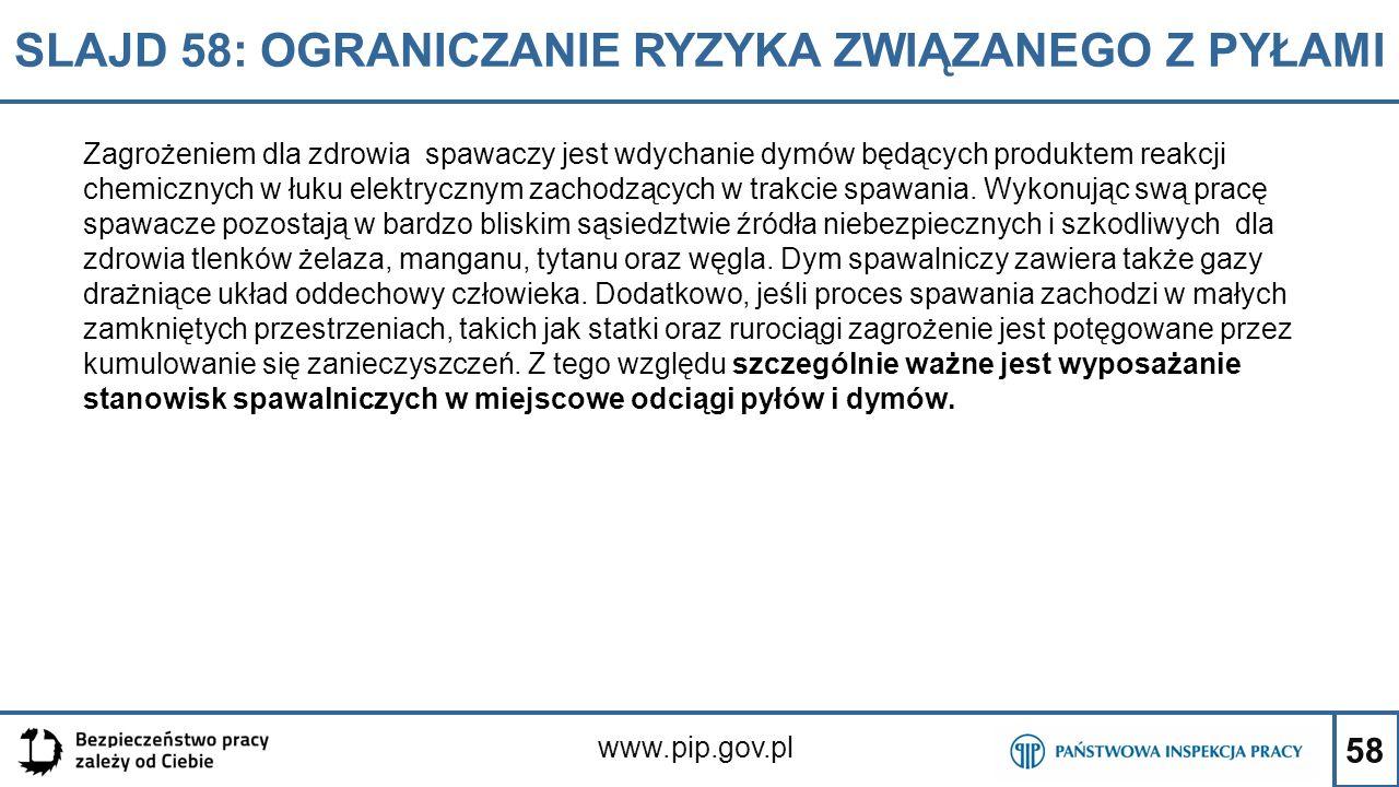 58 SLAJD 58: OGRANICZANIE RYZYKA ZWIĄZANEGO Z PYŁAMI www.pip.gov.pl Zagrożeniem dla zdrowia spawaczy jest wdychanie dymów będących produktem reakcji c