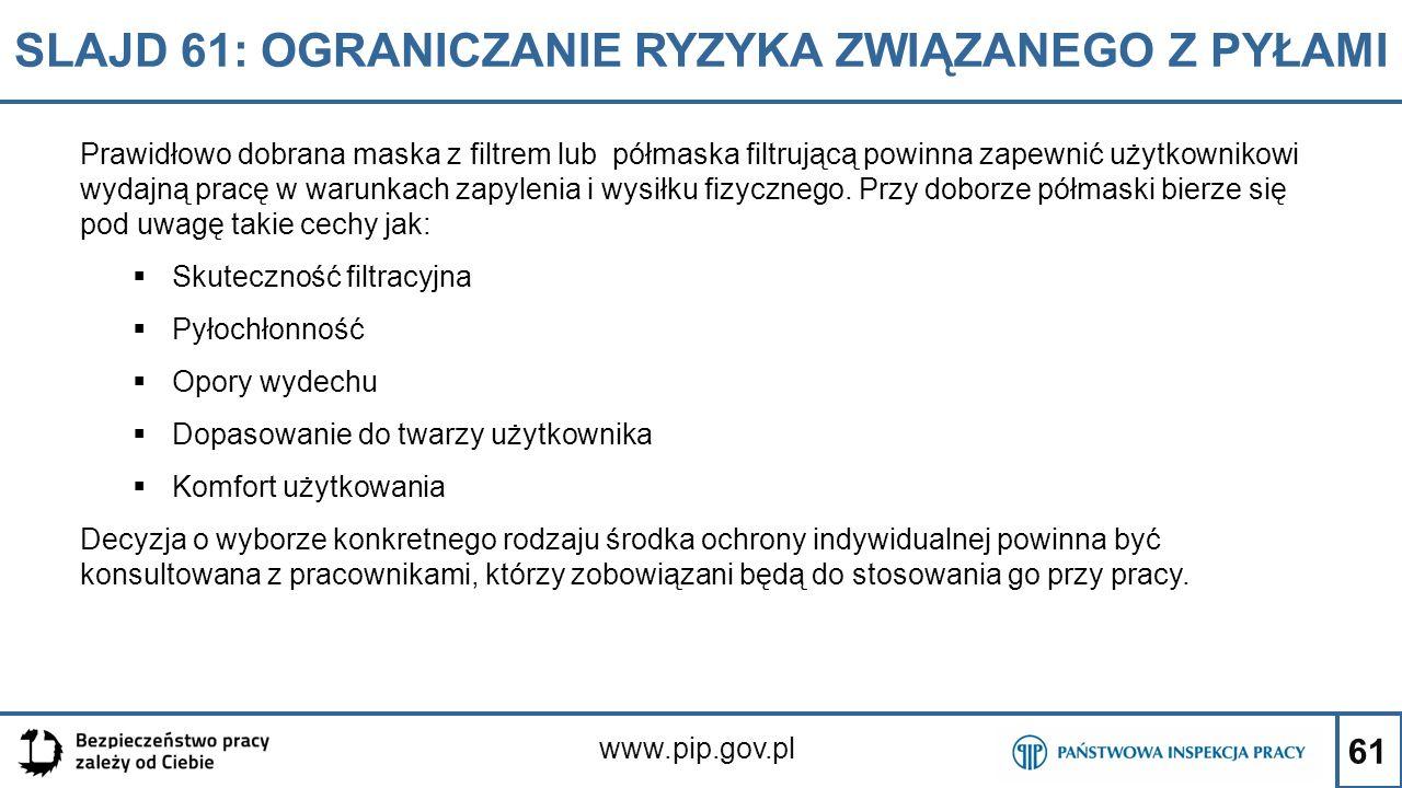 61 SLAJD 61: OGRANICZANIE RYZYKA ZWIĄZANEGO Z PYŁAMI www.pip.gov.pl Prawidłowo dobrana maska z filtrem lub półmaska filtrującą powinna zapewnić użytko