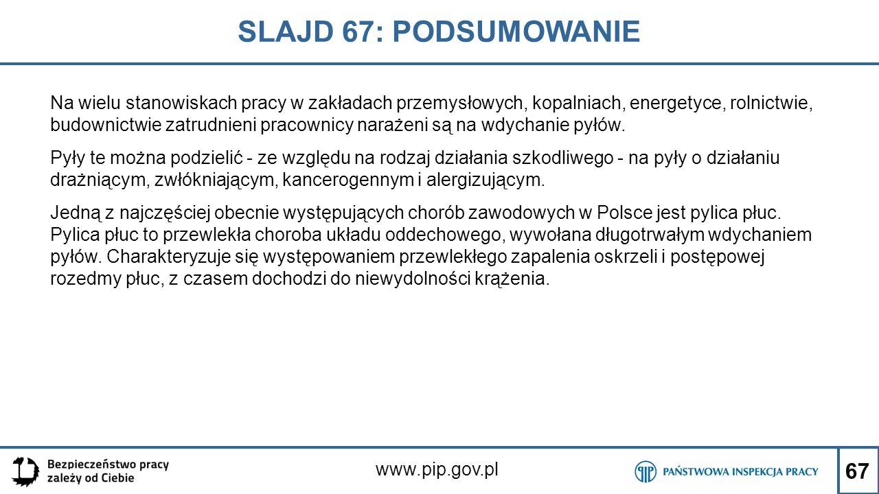 67 SLAJD 67: PODSUMOWANIE www.pip.gov.pl Na wielu stanowiskach pracy w zakładach przemysłowych, kopalniach, energetyce, rolnictwie, budownictwie zatru