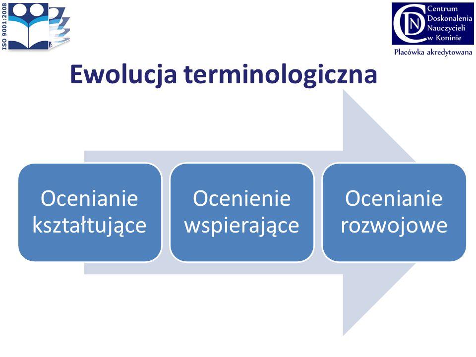 Ewolucja terminologiczna Ocenianie kształtujące Ocenienie wspierające Ocenianie rozwojowe