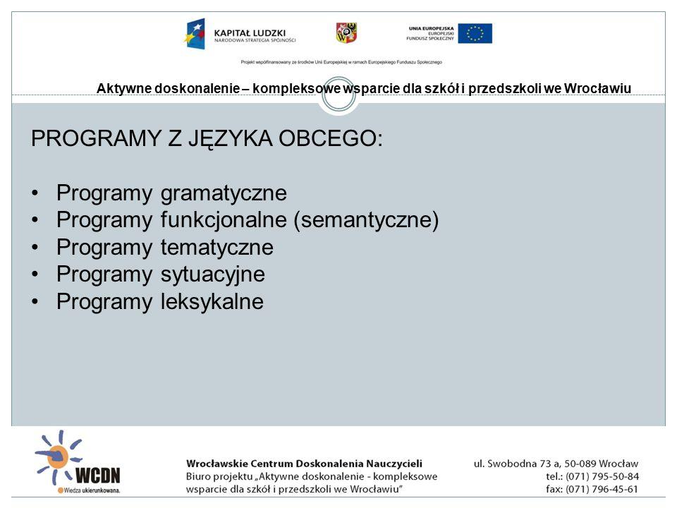PROGRAMY Z JĘZYKA OBCEGO: Programy gramatyczne Programy funkcjonalne (semantyczne) Programy tematyczne Programy sytuacyjne Programy leksykalne