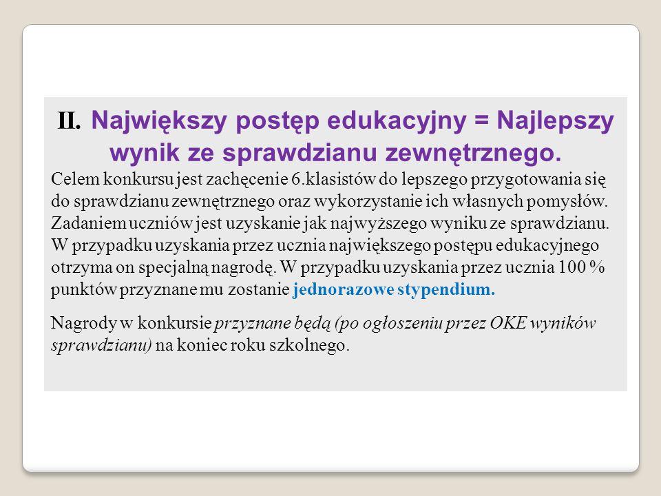 II. Największy postęp edukacyjny = Najlepszy wynik ze sprawdzianu zewnętrznego. Celem konkursu jest zachęcenie 6.klasistów do lepszego przygotowania s