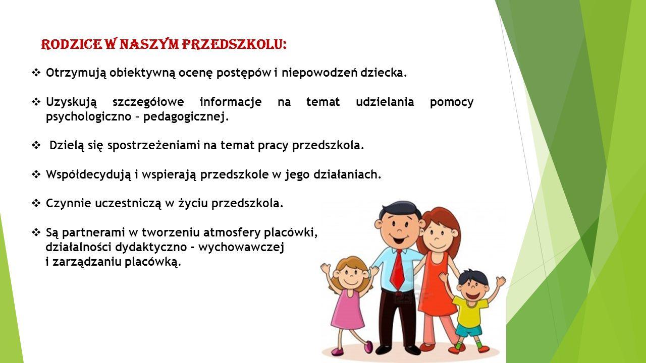 Rodzice w naszym przedszkolu:  Otrzymują obiektywną ocenę postępów i niepowodzeń dziecka.  Uzyskują szczegółowe informacje na temat udzielania pomoc