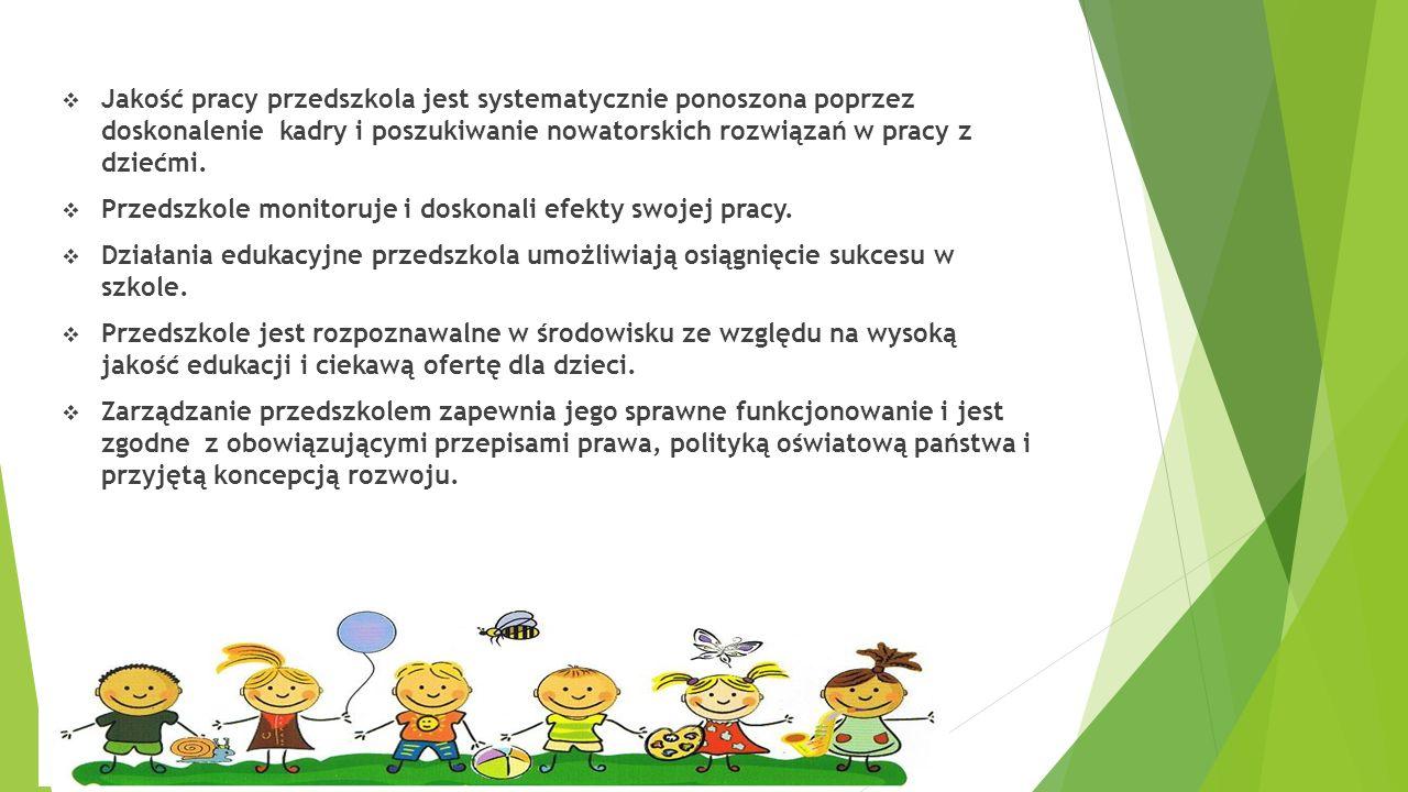  Jakość pracy przedszkola jest systematycznie ponoszona poprzez doskonalenie kadry i poszukiwanie nowatorskich rozwiązań w pracy z dziećmi.  Przedsz