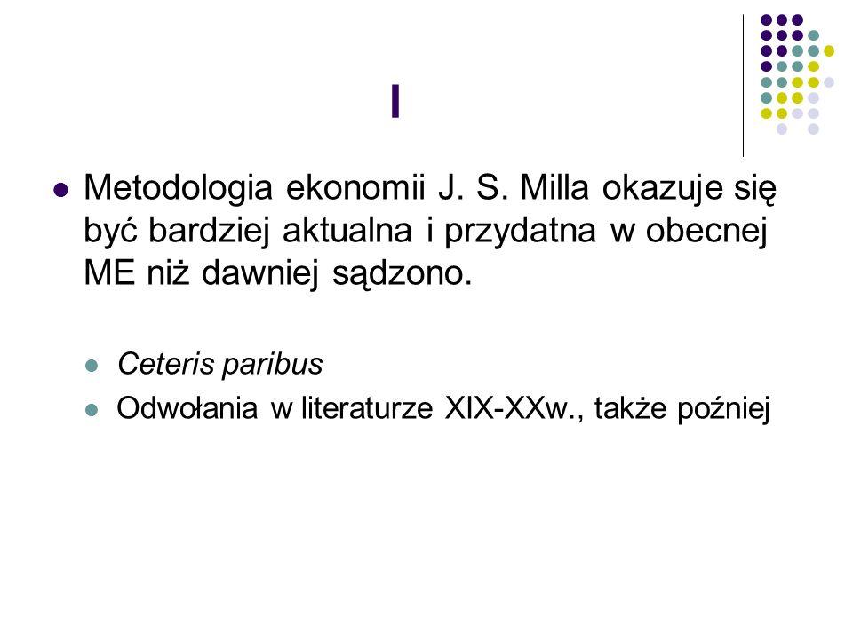 I Metodologia ekonomii J. S.