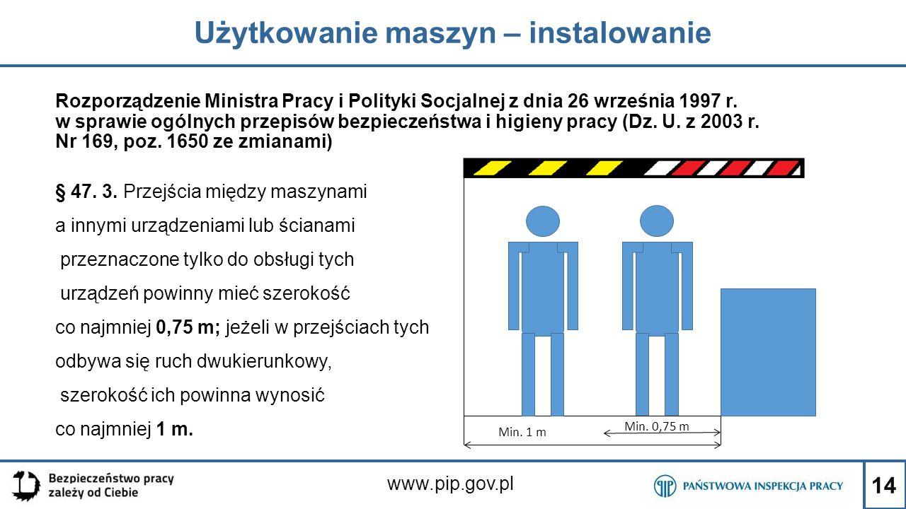 14 Użytkowanie maszyn – instalowanie www.pip.gov.pl Rozporządzenie Ministra Pracy i Polityki Socjalnej z dnia 26 września 1997 r. w sprawie ogólnych p