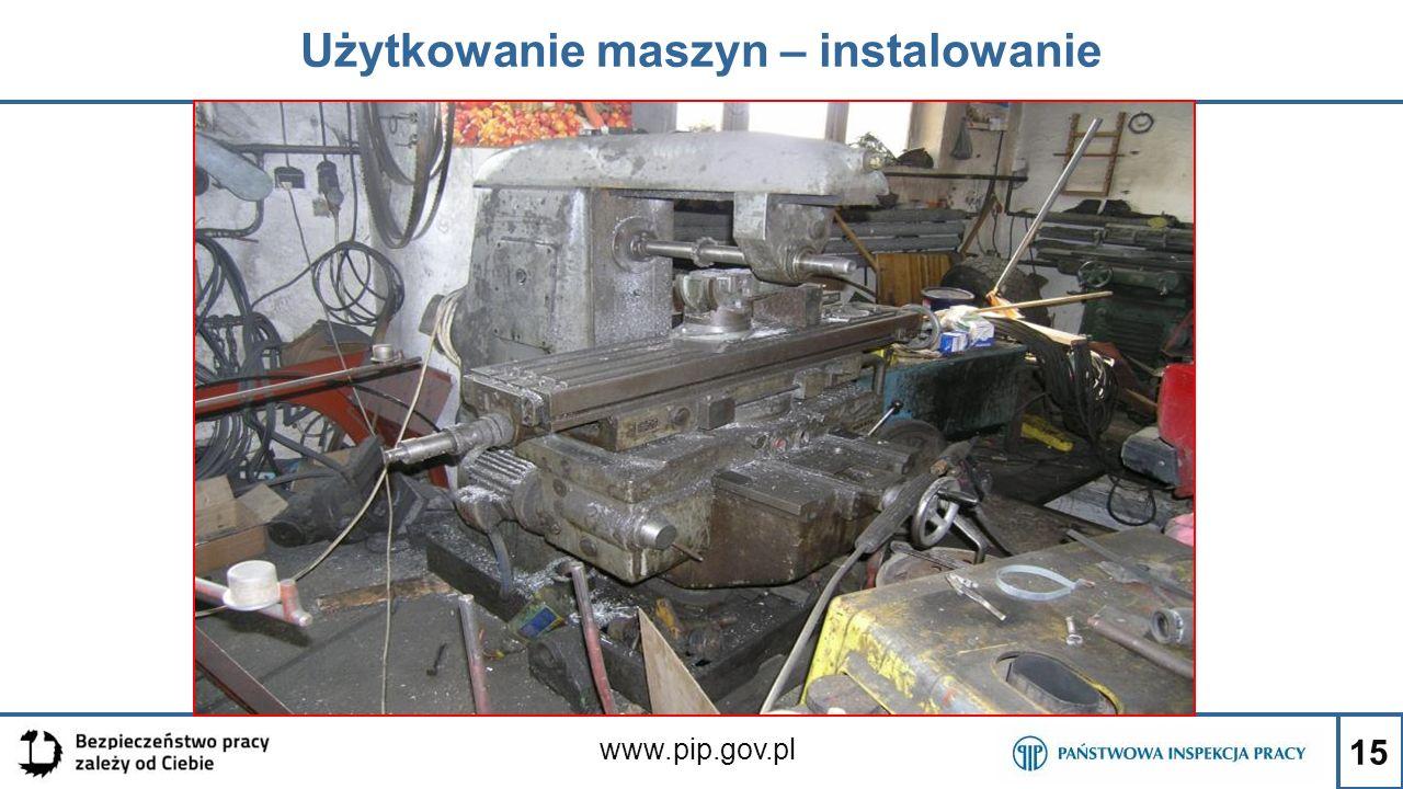 15 Użytkowanie maszyn – instalowanie www.pip.gov.pl