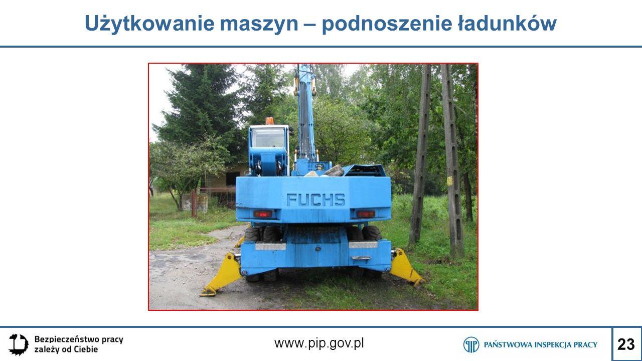 23 Użytkowanie maszyn – podnoszenie ładunków www.pip.gov.pl