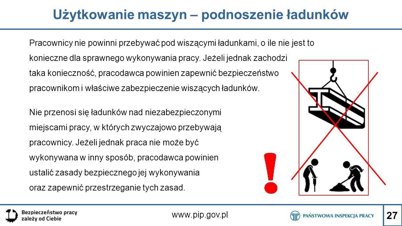 27 Użytkowanie maszyn – podnoszenie ładunków www.pip.gov.pl Pracownicy nie powinni przebywać pod wiszącymi ładunkami, o ile nie jest to konieczne dla